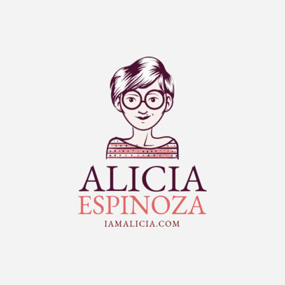 Female Avatar Logo Maker with Round Glasses and Short Hair 1369e