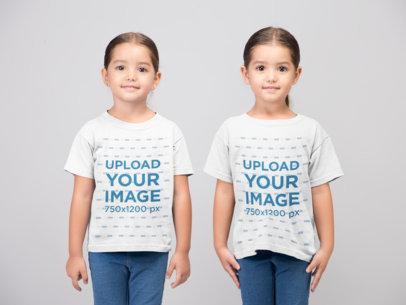 T-Shirt Mockup of Twin Girls at a Photo Studio 22511