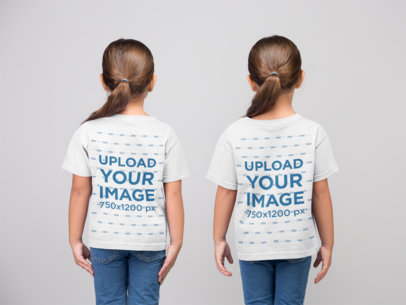 Back View Mockup of Two Little Girls Wearing T-Shirts in a Studio 22513