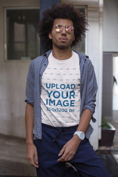 T-Shirt Mockup of a Man Wearing Cool Sunglasses  22249