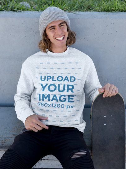 Sweater Mockup of a Man Holding His Skateboard and Smiling 18157