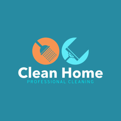Professional Home Cleaning Logo Design Template 1456c
