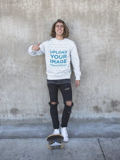 Sweater Mockup of a Smiling Skater Man Wearing Ripped Jeans 18165