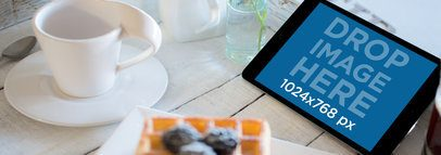 Beautiful Tablet Mockup of an iPad at a Breakfast Table a3697