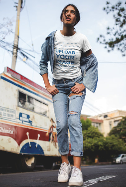 Tshirt Mockup of a Girl with a Denim Jacket and Jeans on the Street 19389