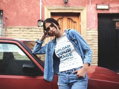 T Shirt Mockup of a Girl in Denim Outfit Leaning Against a Car 19391