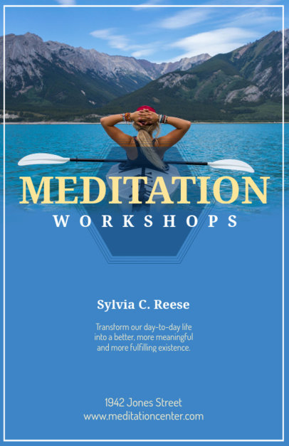 Online Flyer Maker for Meditation Classes with Relaxing Images as Background 90c