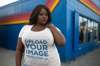 Mockup of a Woman Wearing a Plus Size T-Shirt 18296