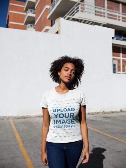 T-Shirt Mockup of a Girl with an Afro at a Parking Lot 18203