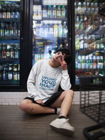 Sweatshirt Mockup of a Woman with Short Hair Sitting in a Grocery Store Aisle 18278