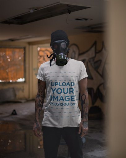 Round Neck Tee Mockup of a Man Using a Gas Mask 22948