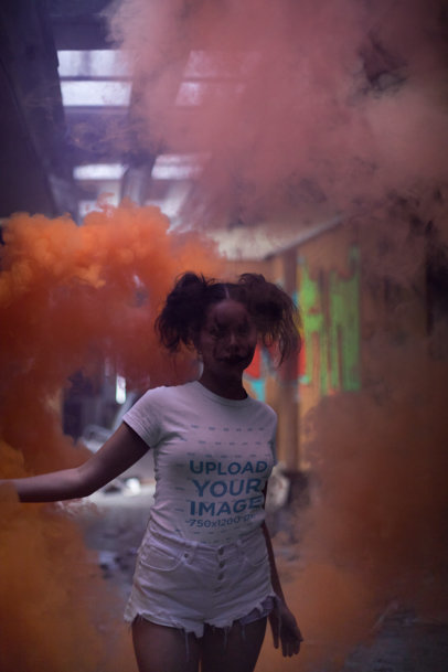 Round Neck Tee Mockup of a Girl with Halloween Makeup in a Cloud of Orange Smoke 22932