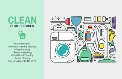 Illustrated Horizontal Flyer Template for Home Cleaning 693a