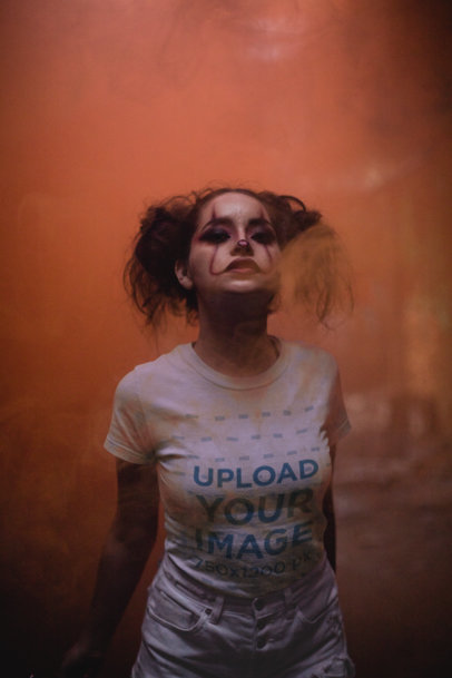 T-Shirt Mockup of a Woman with Scary Clown Makeup  22933