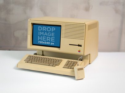 Vintage Mockup of an Apple Lisa Computer