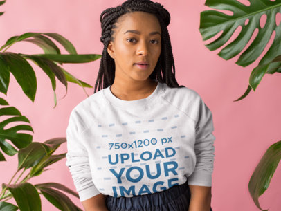 Sweatshirt Mockup Featuring a Woman With Box Braids 18399