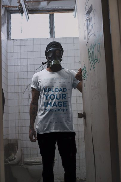 Mockup of a Man in a Scary Gas Mask Wearing a T-Shirt 22949