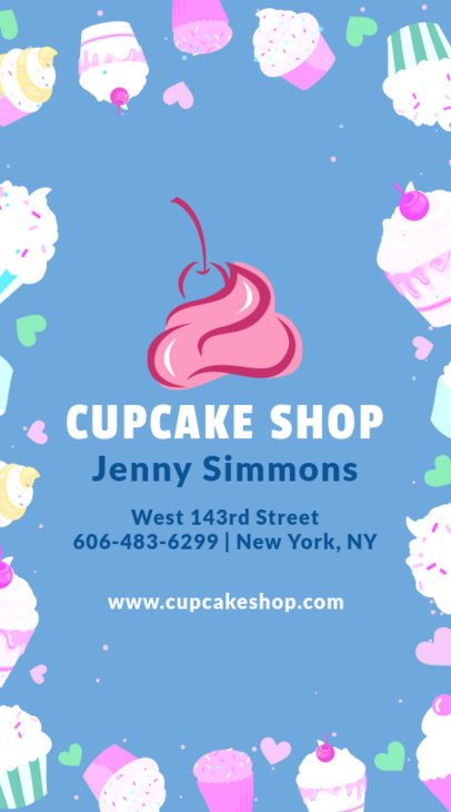 Vertical Business Card Maker for Cupcake Stores 495d