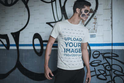 T-Shirt Mockup of a Man in Halloween Makeup and with a Strong Stare 23016
