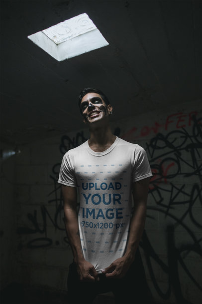 Mockup of a Scary Man Wearing a T-Shirt 23032