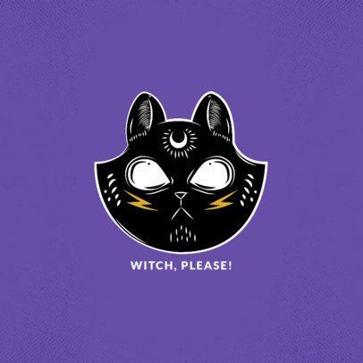 Black Cat Phone Grip Design Template for Halloween 822c