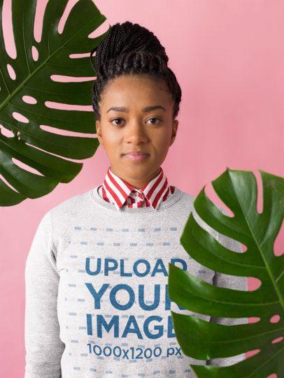 Sweatshirt Mockup Featuring a Woman Wearing a Collared Striped Shirt 18379