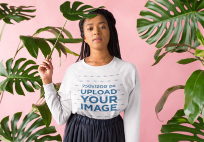 Crewneck Sweater Mockup of a Girl with Braids Standing by Leaves 18377