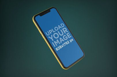 Mockup of a Yellow iPhone XR Floating 23139