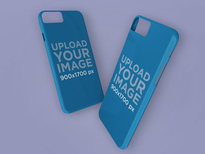 Mockup of Two iPhone Cases Floating Against a Solid Surface 23144