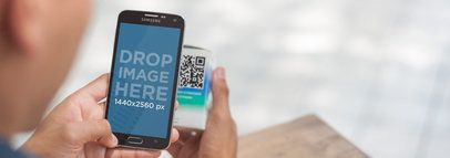 Android Mockup of a Teenager Scanning a QR Code a4085