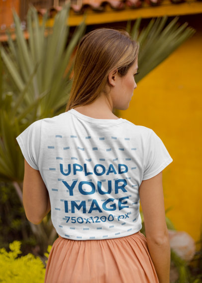 Back View T-Shirt Mockup of a Woman with Long Straight Hair 22505