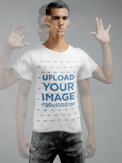Trendy Mockup Featuring a Man Wearing a T-Shirt  21570