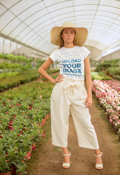 Round Neck Tee Mockup of a Stylish Girl at a Greenhouse 22501