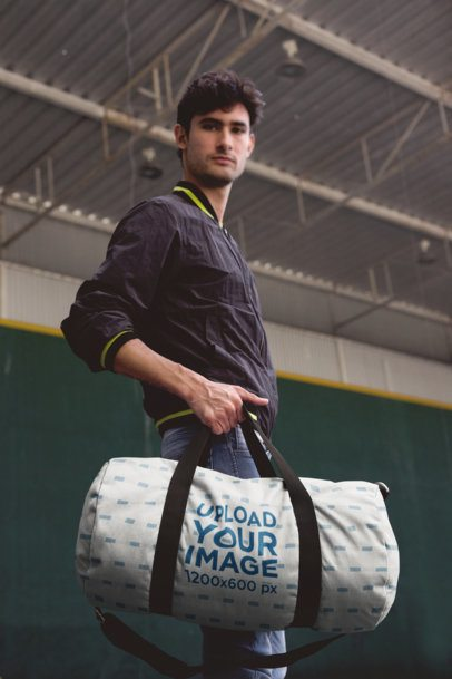 Mockup of a Young Man Carrying a Gym Bag 23244