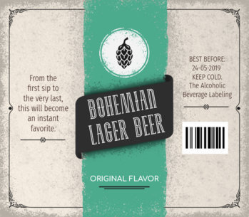 Custom Beer Labels Template for Bohemian Lager Beer 759d-1819