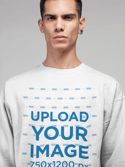 Front View Mockup of a Man Wearing a Crew Neck Sweater 21568