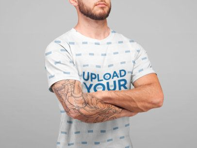 Sublimated T-Shirt Front Mockup of a Man with a Tattoo and a Beard 22344