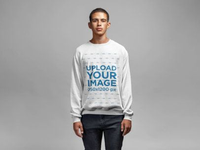 Sweatshirt Mockup Featuring a Serious Man Staring at the Camera 21589