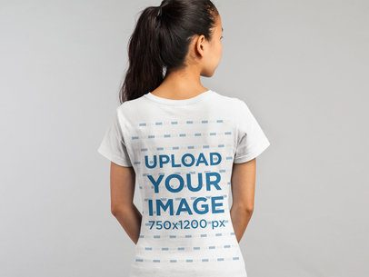 Round Neck Tee Back View Mockup of a Woman with a Ponytail 21767a