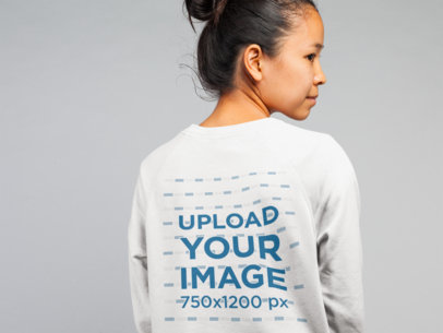 Crewneck Sweatshirt Back View Mockup of a Woman Looking Away 21786
