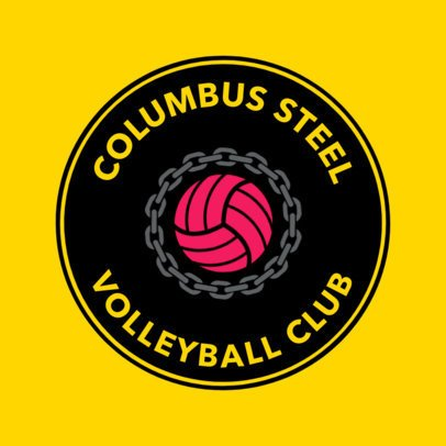 Flat Logo Design Template for a Volleyball Team Logo 1511b
