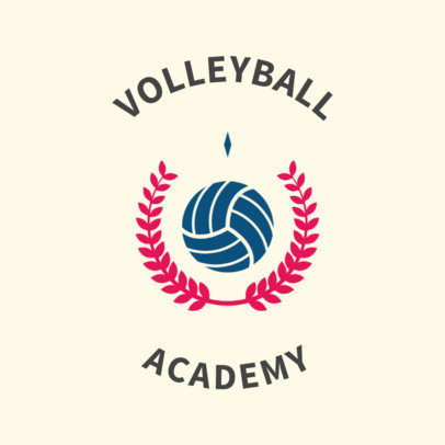 Classic Volleyball Logo Maker with a Laurel Wreath Symbol 1511e