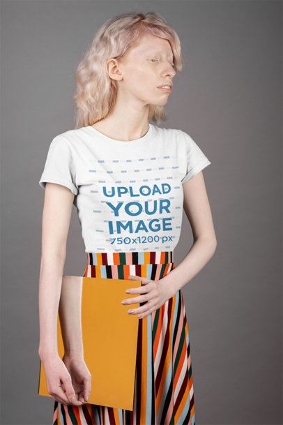 Mockup of a Trendy Woman Wearing a T-Shirt and a Patterned Skirt 21892