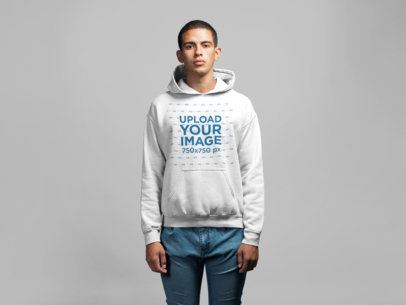 Pullover Hoodie Mockup Featuring a Young Man in a Studio 21593
