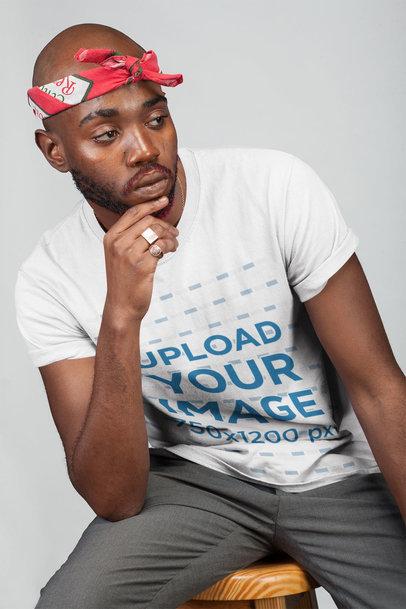 Mockup Featuring a Man Wearing a T-Shirt and a Bandana 21667