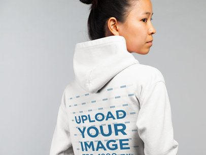 Pullover Hoodie Mockup of a Serious Woman in a Studio 21784