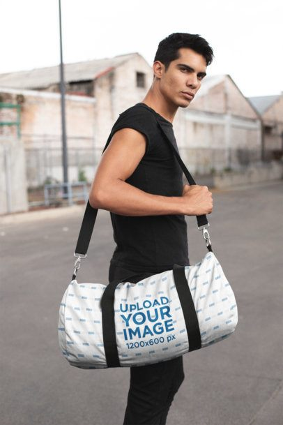Gym Bag Mockup of an Athletic Man Heading to the Gym 23235