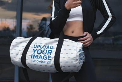Mockup of a Kit Bag Modeled by a Woman 23045