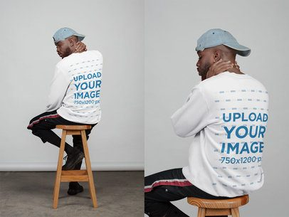 Double Sweatshirt Mockup of the Back of a Man Sitting on a Stool 21674