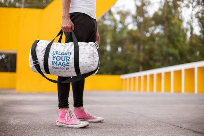 Gym Bag Mockup of a Man Wearing Pink Sneakers 23232